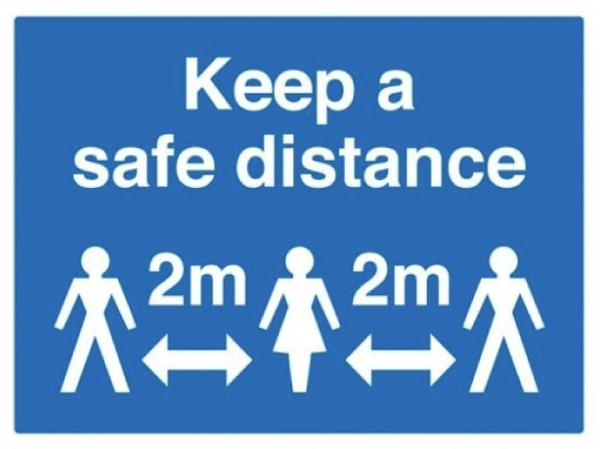 iSB Group Product: Self Adhesive, Rectangular Blue/White Safe Distance Sign – 300 x 200mm