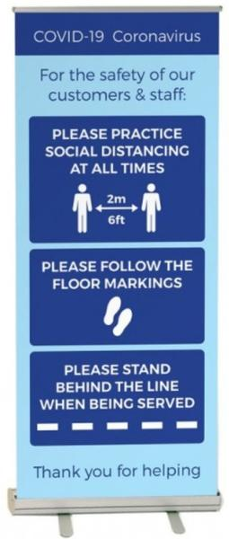 iSB Group Product: Roller Banner Blue Covid-19 Guidance