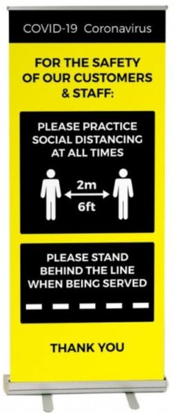 iSB Group Product: Roller Banner Black/Yellow Covid-19 Guidance