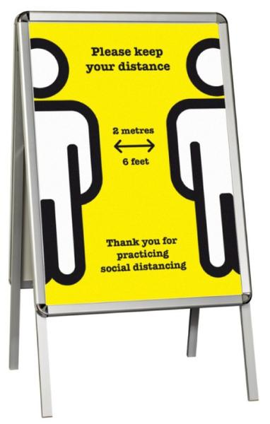 iSB Group Product: Free Standing rectangular Yellow Keep your Distance